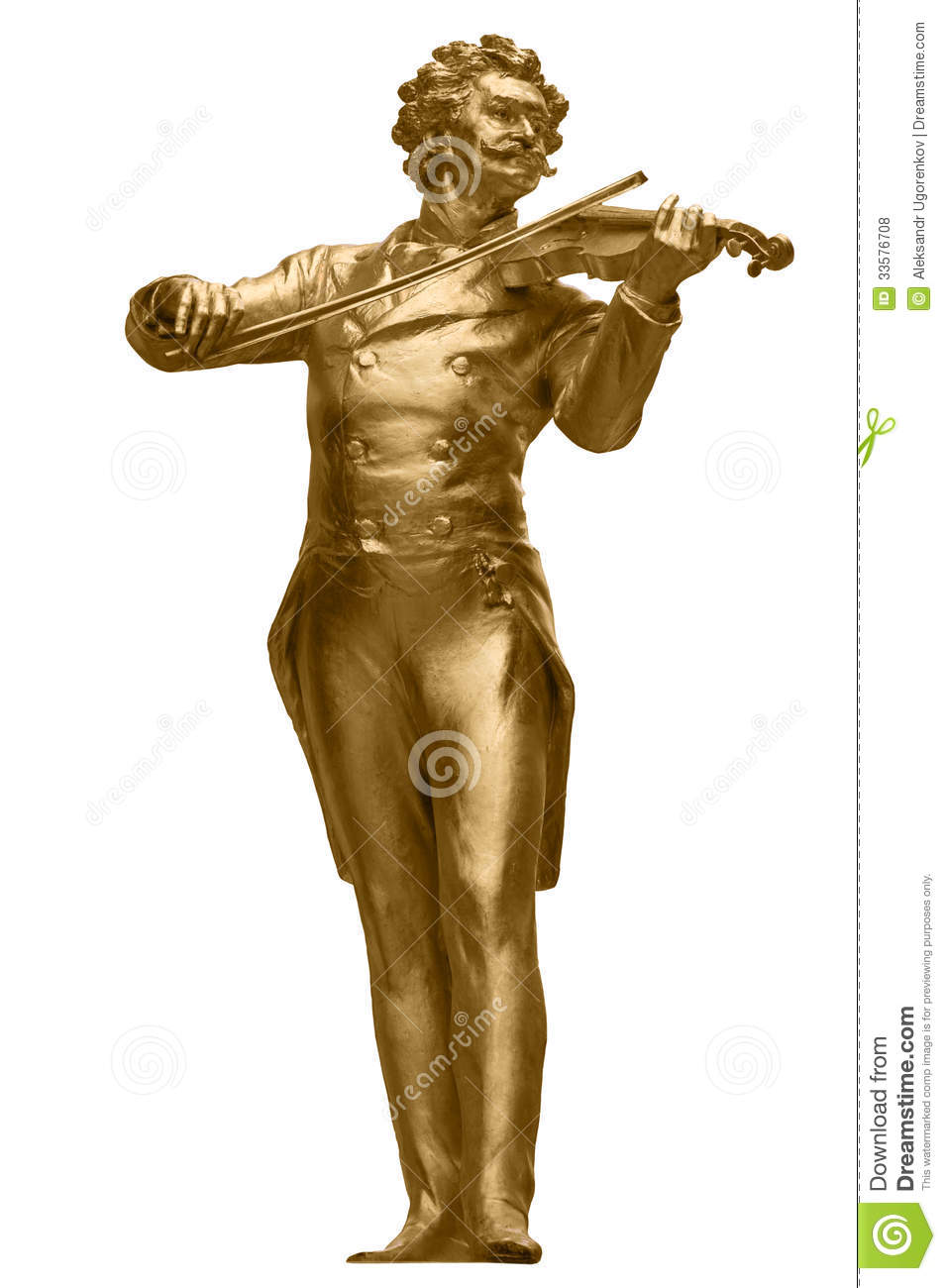 Johann Strauss Golden Statue On White Royalty Free Stock Photos.