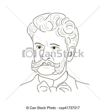Vector Clip Art of Johann Strauss the Son . The Waltz King . An.
