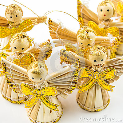 Straw Christmas Angels Royalty Free Stock Images.