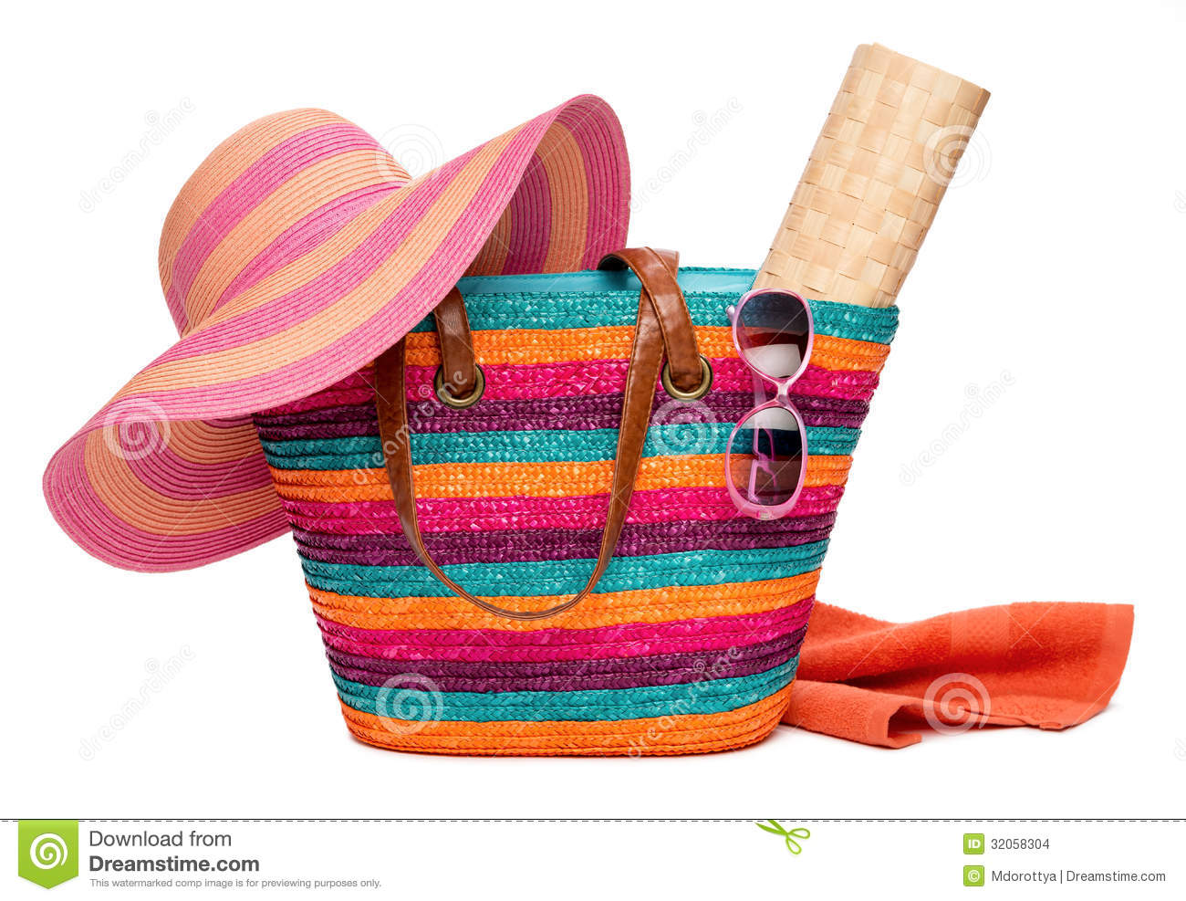 Beach Bag With Sun Hat Stock Images.