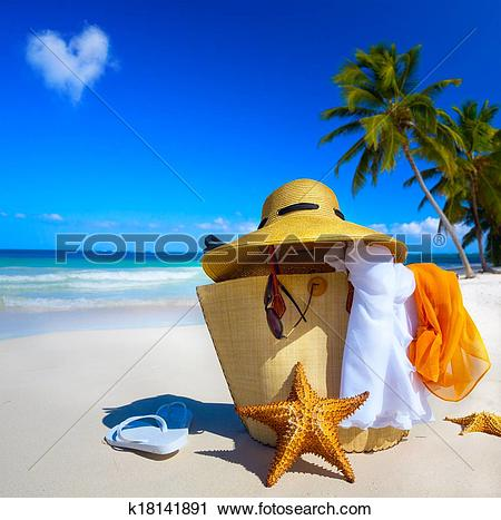 Stock Photography of Art Straw hat, bag, sun glasses and flip.