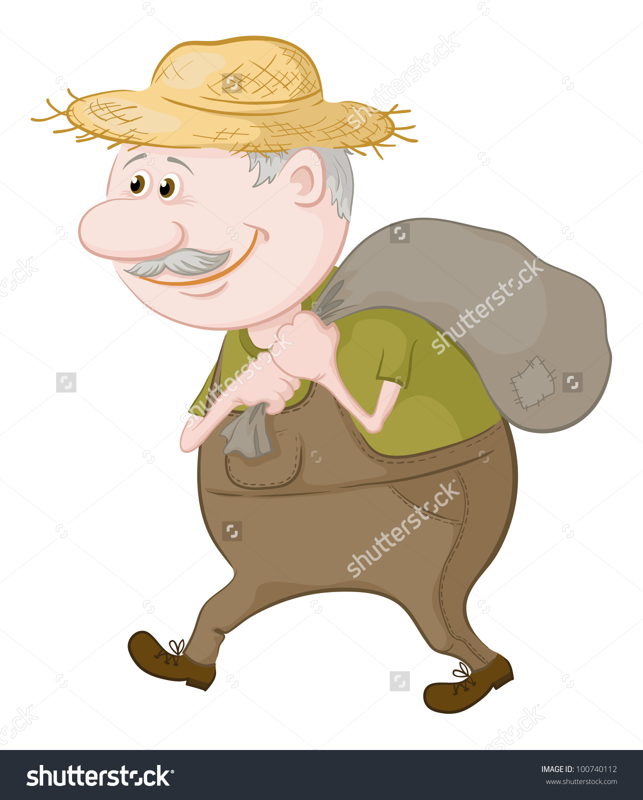 Old Man Straw Hat Carries Canvas Stock Vector 100740112.