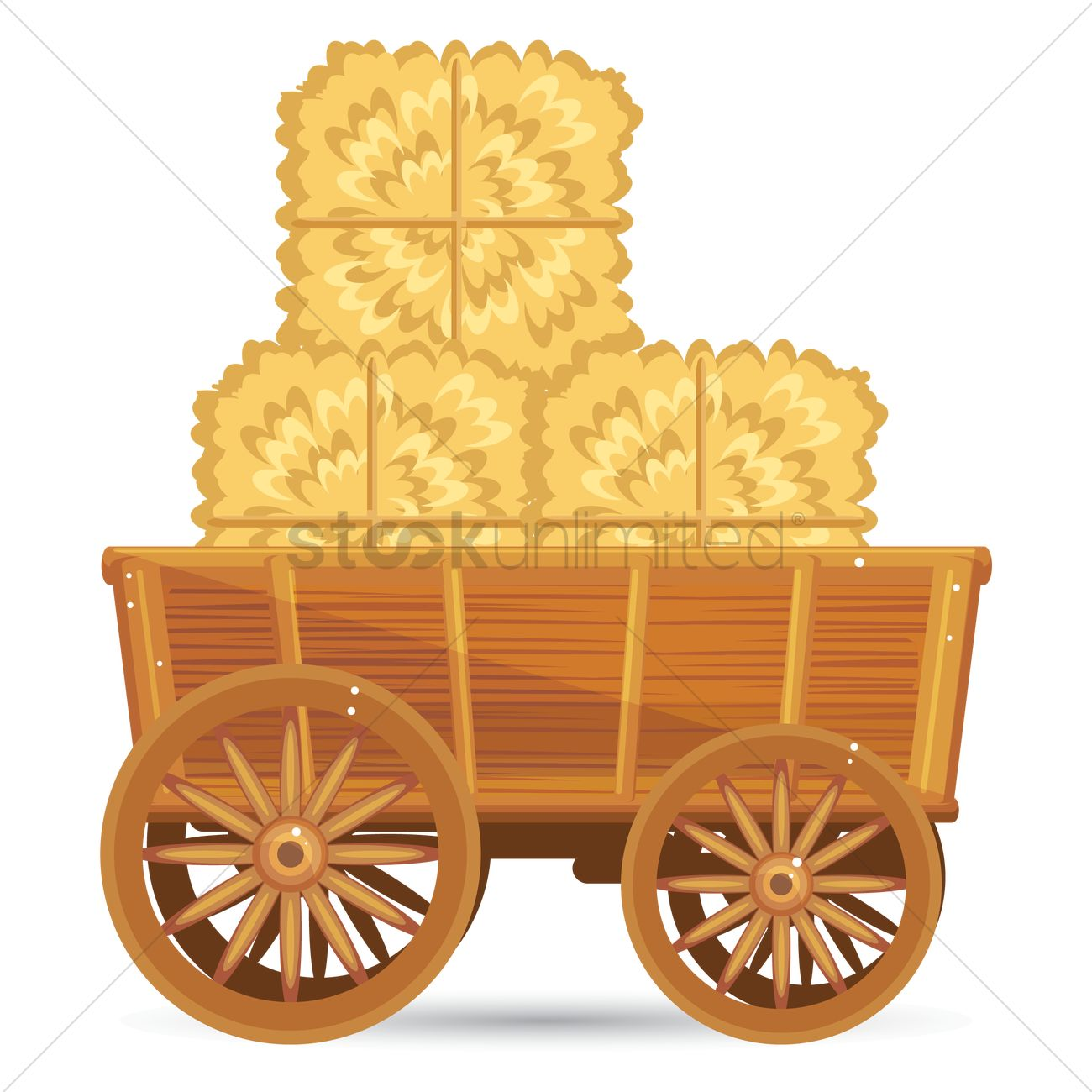Wooden cart with straw bales Vector Image.