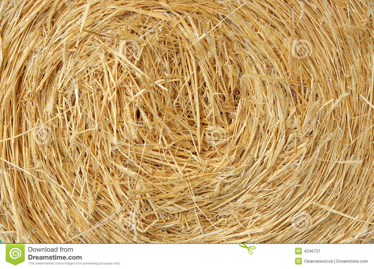 Straw Bale Farm Background Stock Image.