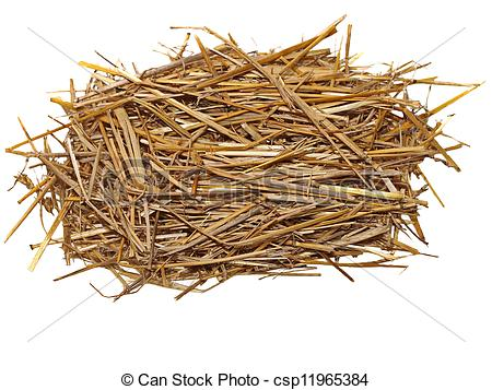 Pictures of pile straw isolated on white, (with clipping path.