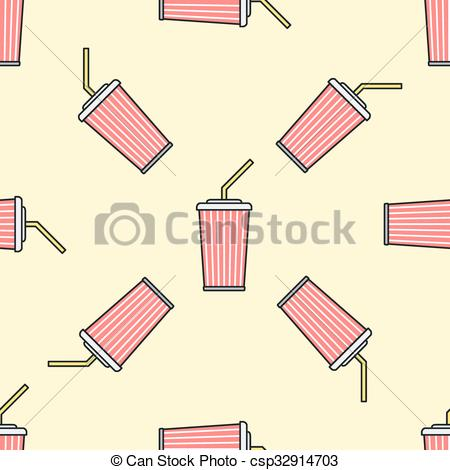 Vector Clipart of cola paper cup straw colored seamless pattern.