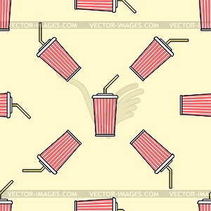 paper cup straw colored seamless pattern.