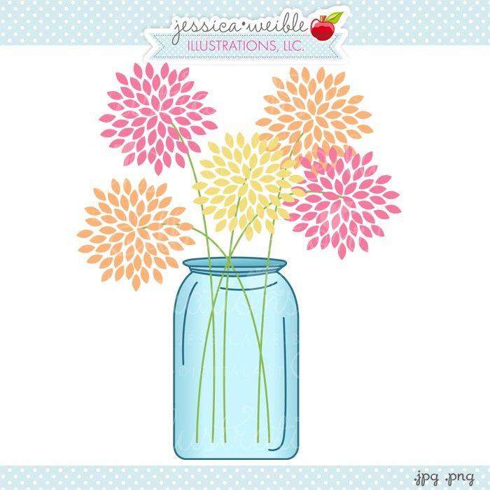 Mason jar with straw clipart.