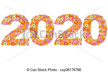 Pictures of New year 2020 made from straw flowers csp36176786.