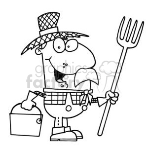 black and white cartoon farmer in a straw hat clipart. Royalty.