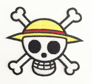Details about **Legit** One Piece Luffy Straw Hat Pirate Jolly Roger Logo  Iron On Patch #4325.