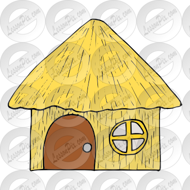 Straw House Picture for Classroom / Therapy Use.