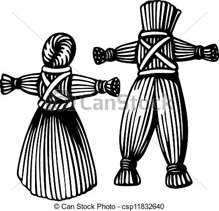 Stock Photo of Straw man and woman csp11832640.