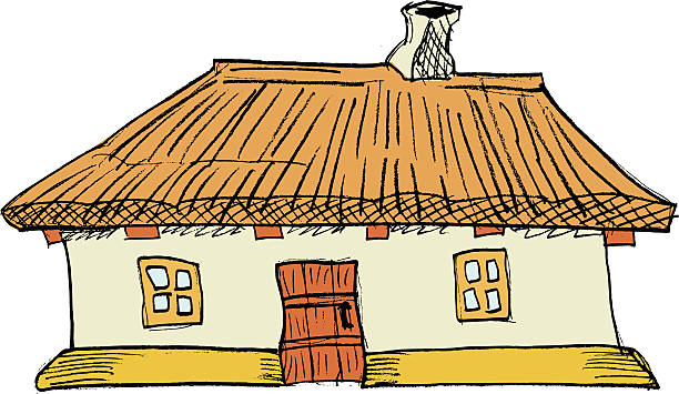 Thatched Roof Cottage Vector Cartoon Clip Art, Vector Images.