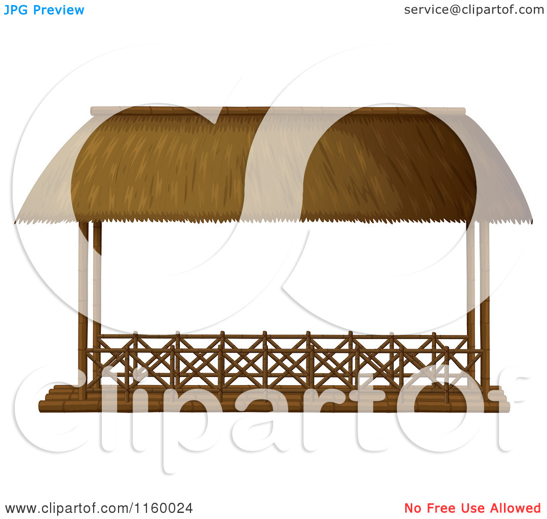 Cartoon of a Gazebo with a Thatched Roof.