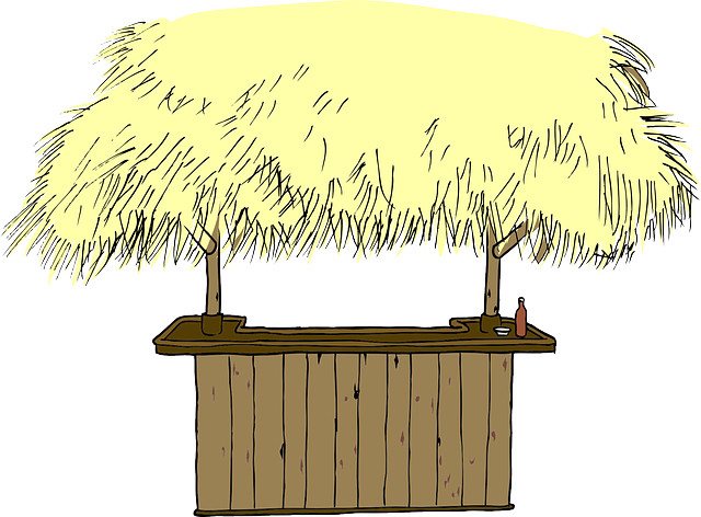 Hut Straw Roof Beach Bar Counter Tropical #1oWzyZ.