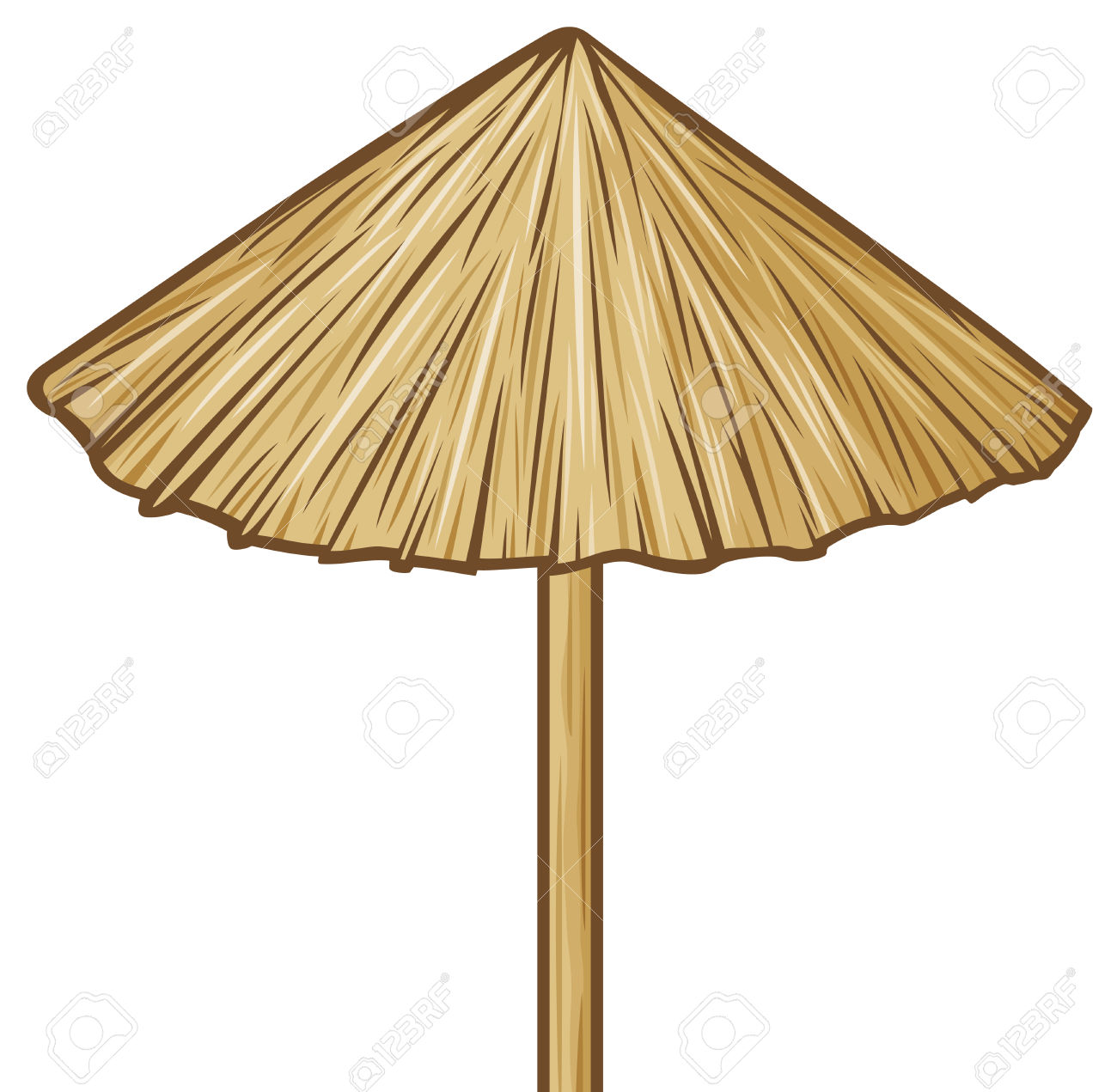 Straw Umbrella Wooden Sunshade, Beach Umbrella Royalty Free.