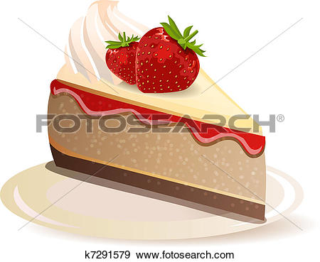 Clip Art of Strawberry cake on plate isolated on white background.