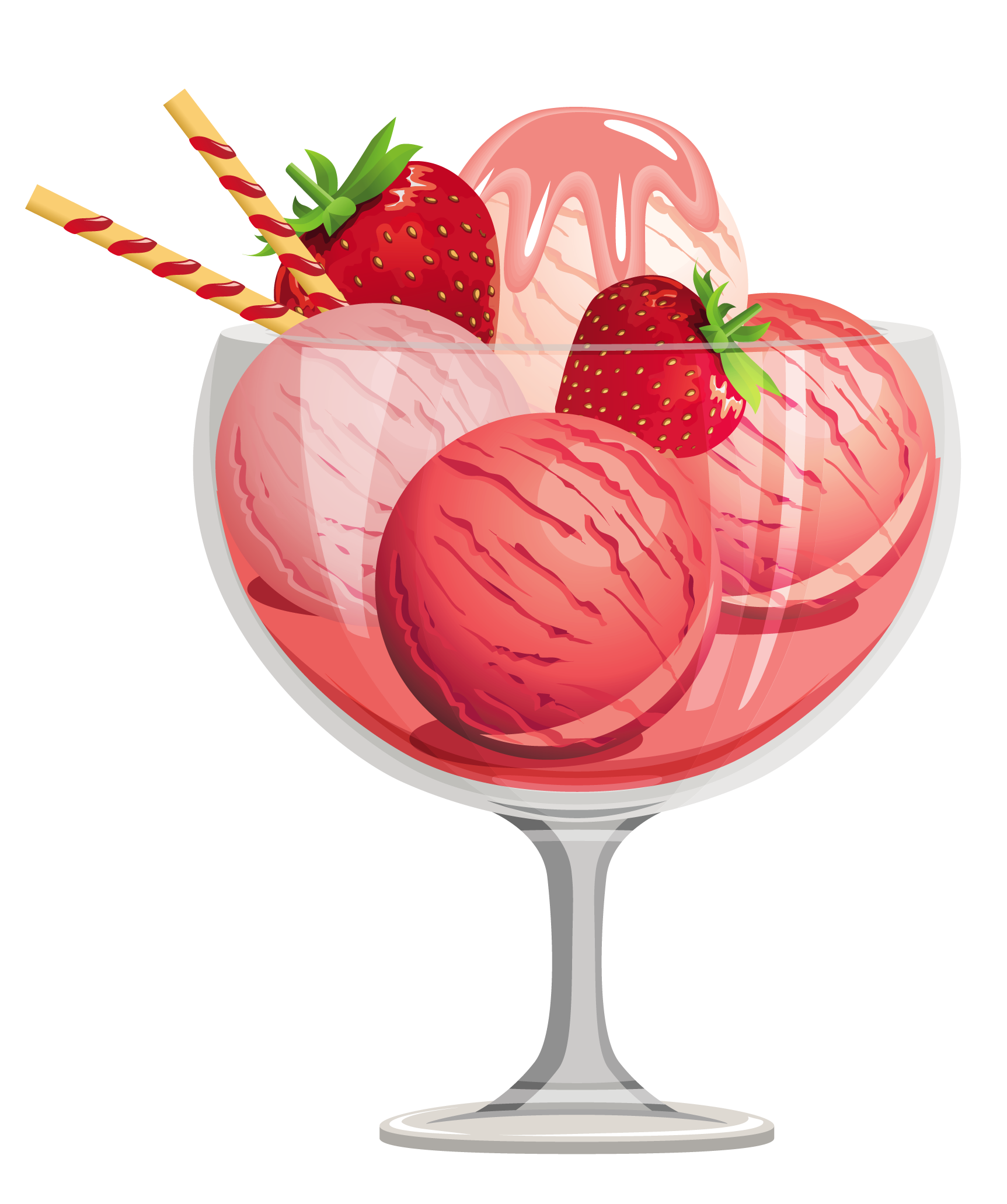 Strawberry Ice Cream Clip Art.