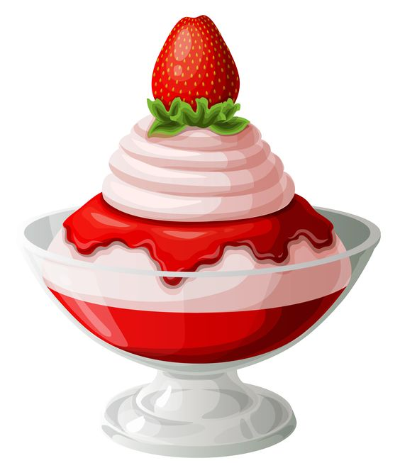 Strawberry Ice Cream Sundae Transparent Picture.