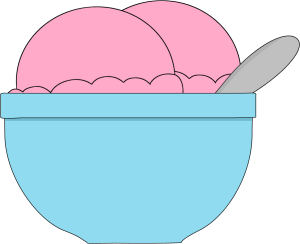 Bowl of Strawberry Ice Cream Clip Art.