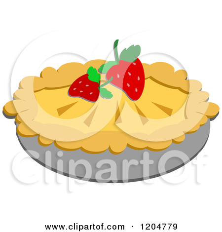 Cartoon of a Pie Garnished with Strawberries.