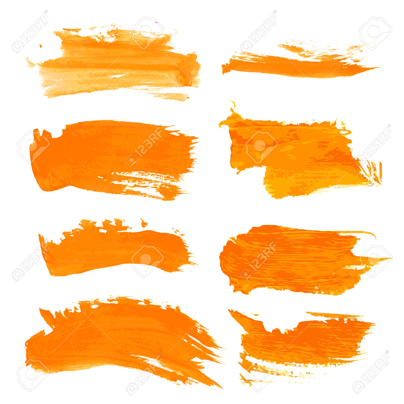 Set Orange Gouashe Realistic Thick Paint Strokes Royalty Free.