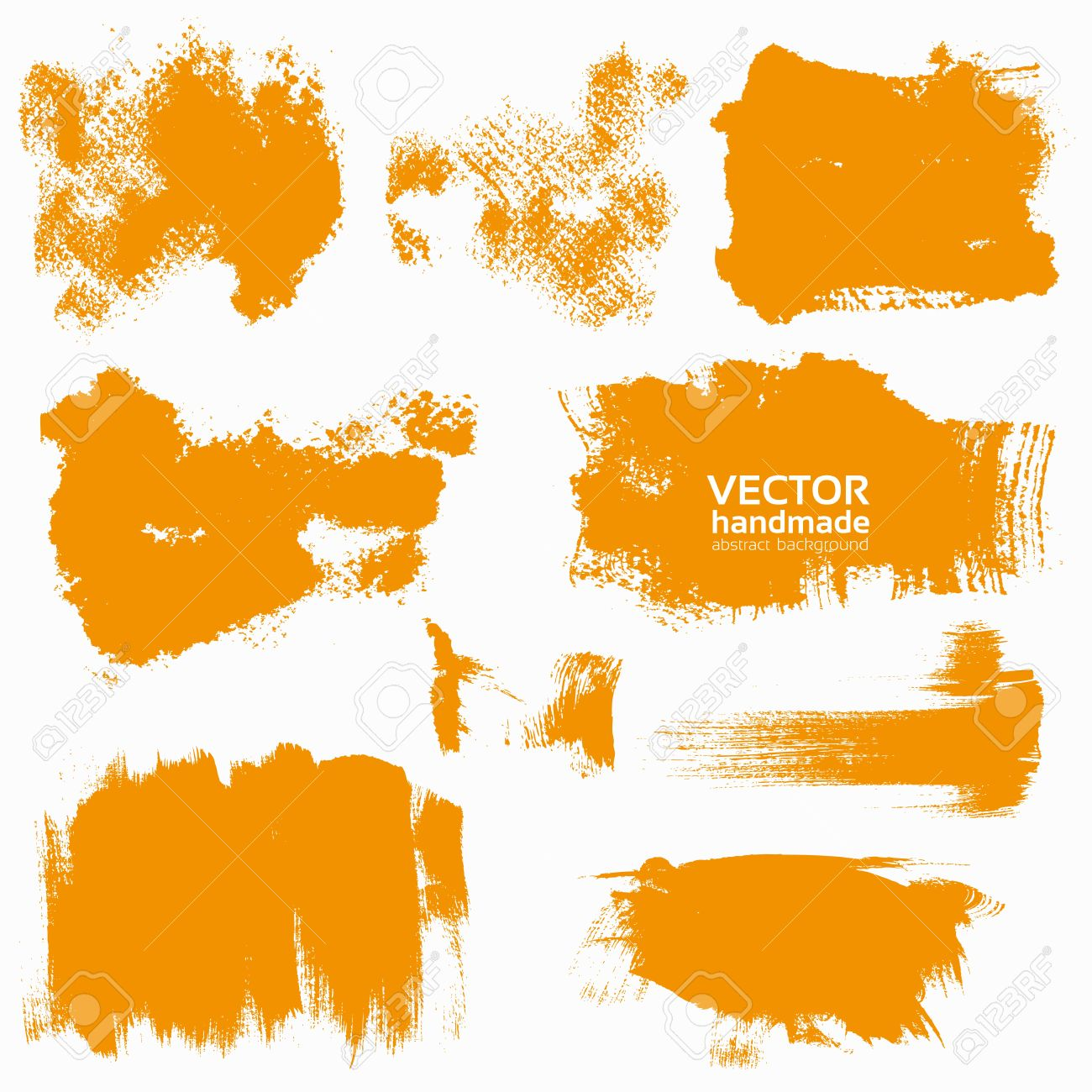 Abstract Orange Vector Set Backgrounds Draw By Brush And Ink.