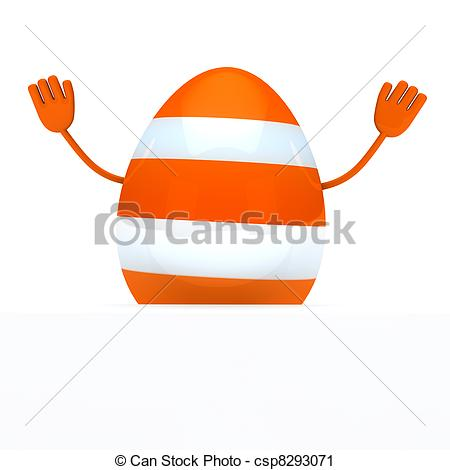 Clipart of orange easter egg wave hands.
