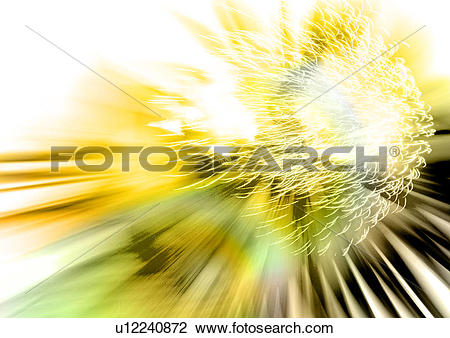 Clip Art of Yellow light streaks superimposed on a glowing.