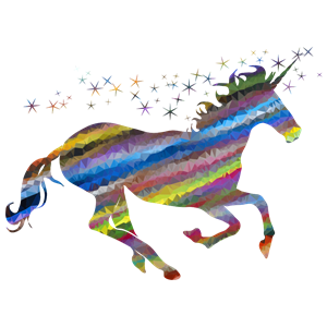 Low Poly Prismatic Streaked Magical Unicorn clipart, cliparts of.