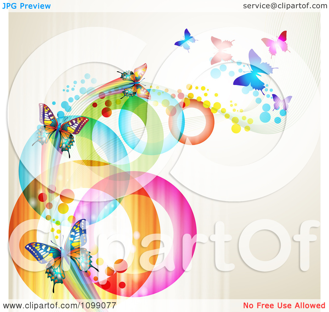 Clipart Background Of Butterflies With Streaks And Colorful.