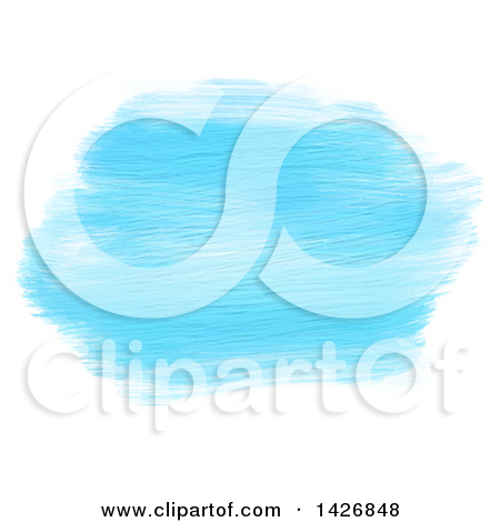 Clipart of Streaks of Blue Acrylic Paint on White.