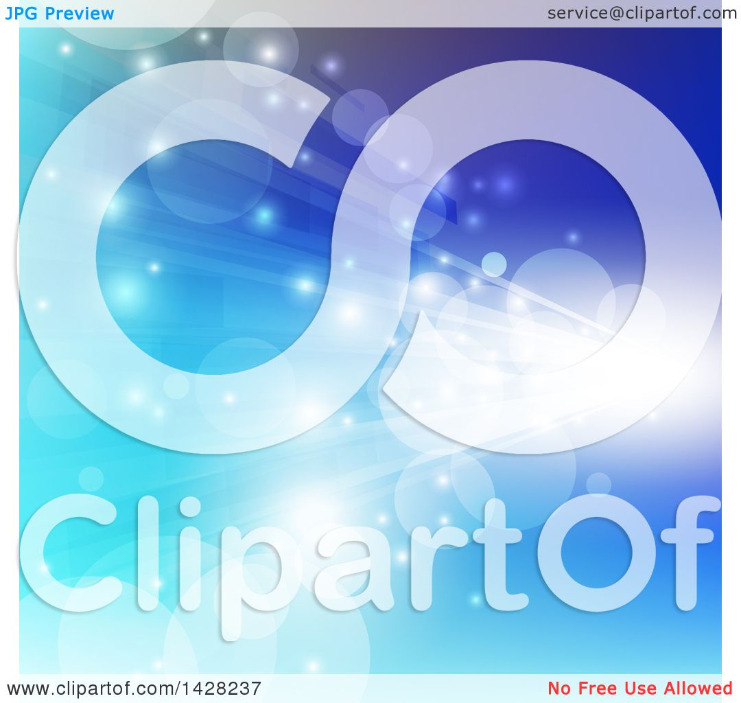 Clipart of a Blue Abstract Background with Flares and Streaks of.