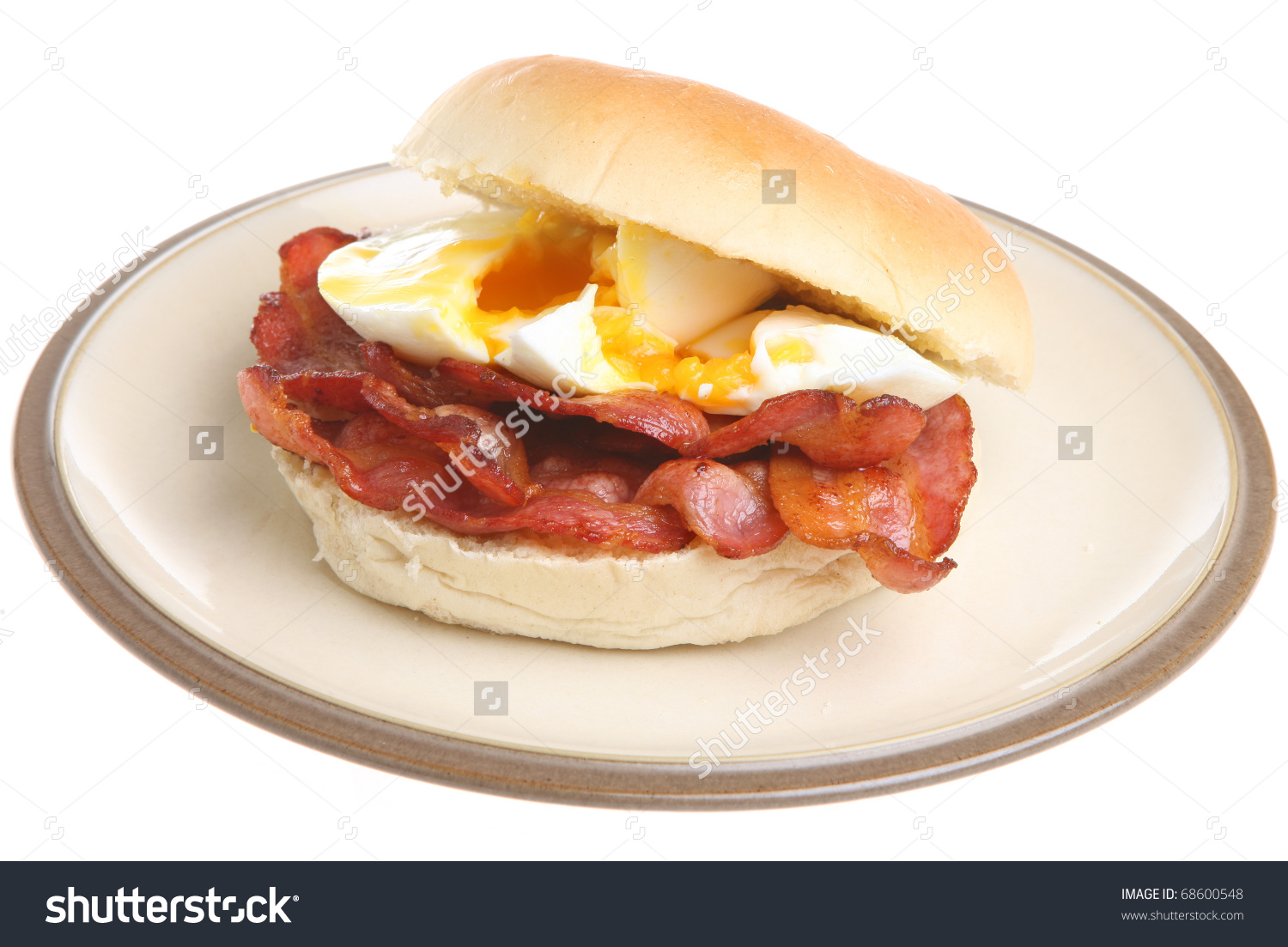 Streaky Bacon Poached Egg Roll Stock Photo 68600548.