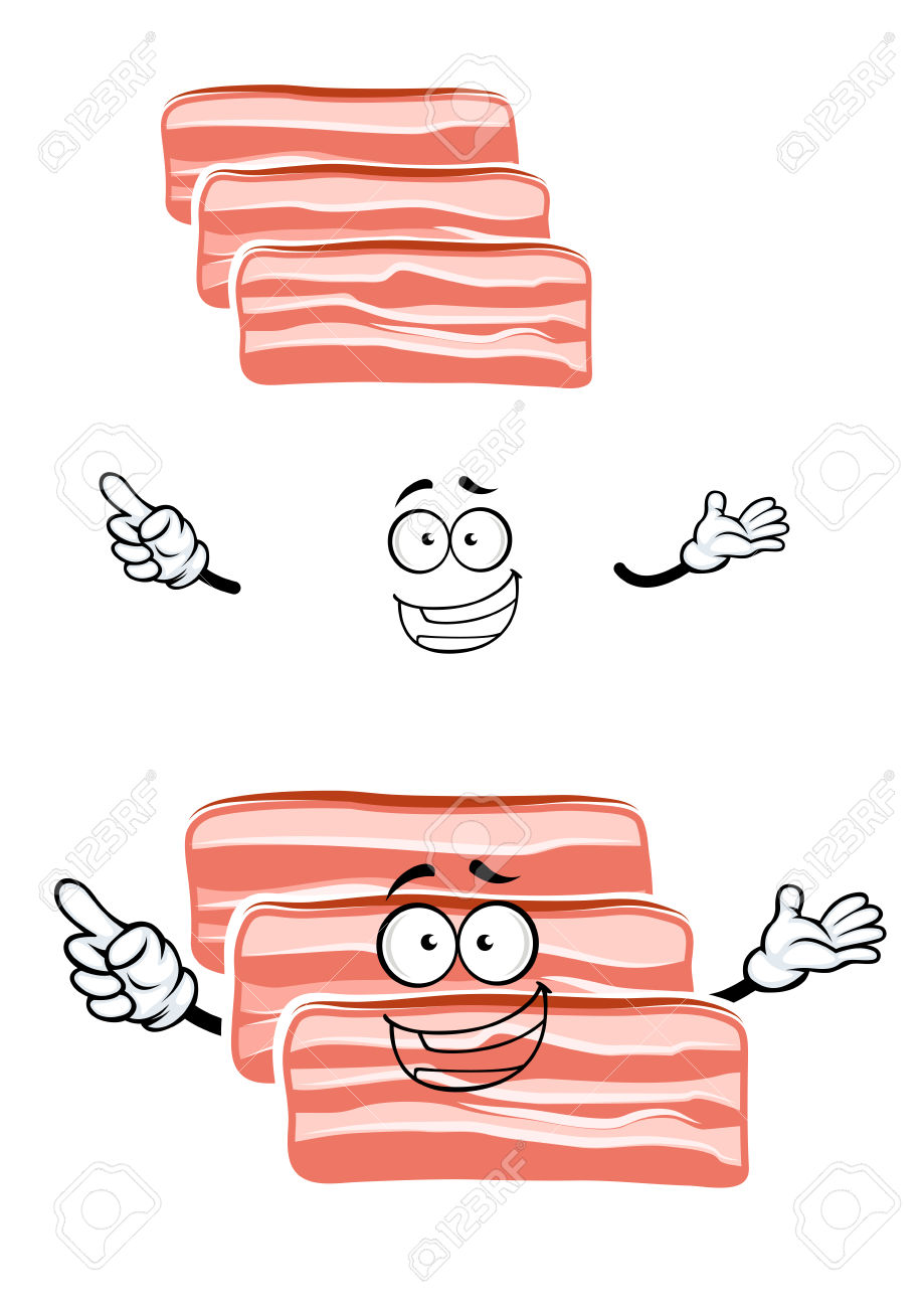 Cheerful Cartoon Fresh Bacon Character With Rashers Of Streaky.