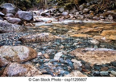 Stock Photography of Closeup Rocks in Clear Water Stream.