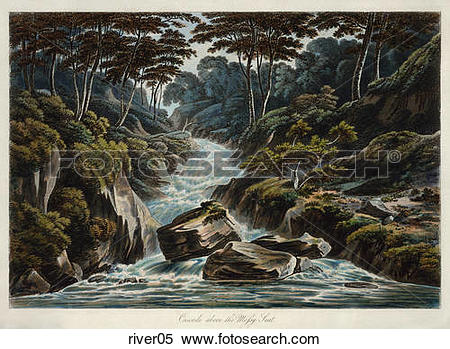 Stock Illustration of Antique Illustration of a View of Stream.