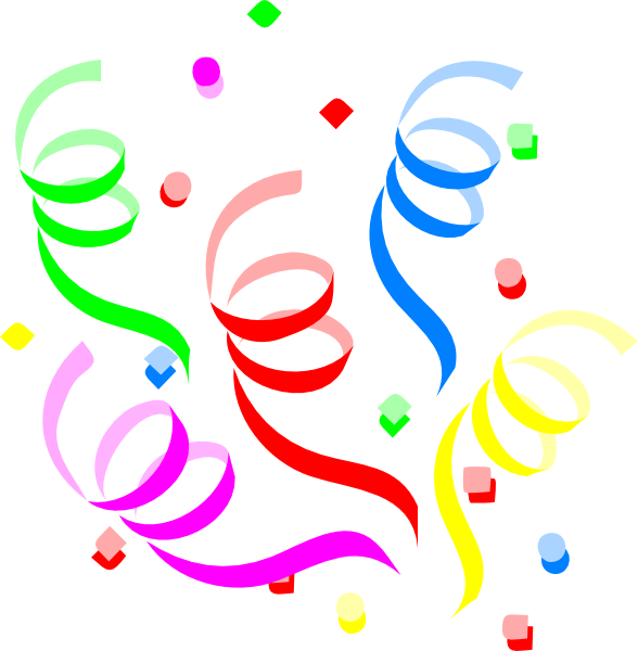 Single Streamers And Confetti Clipart.