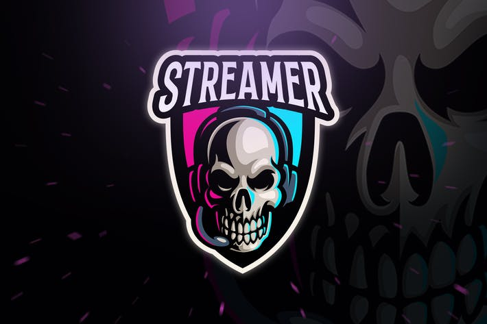 Skull Streamer Sport and Esport Logo Template by Blankids on Envato Elements.