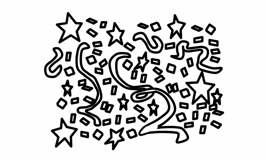 Confetti Streamers Black And White Png Calligraphy.