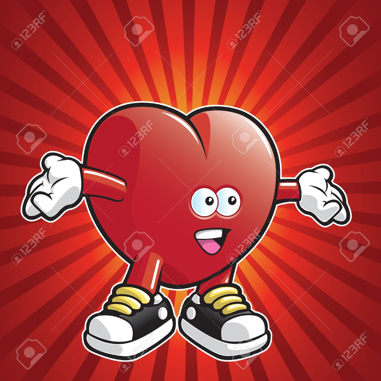 Cartoon Heart Wearing Shoes With Arms Stretched Out Royalty Free.