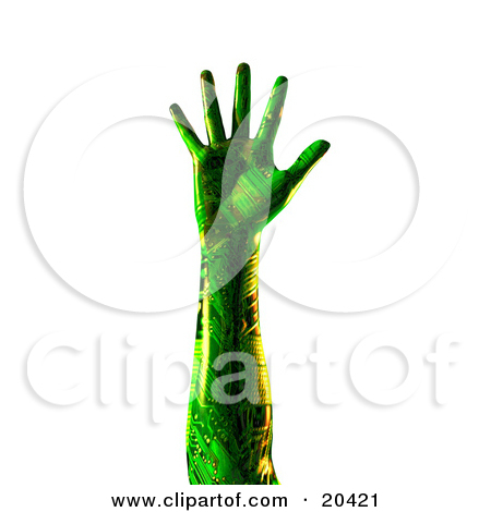 Clipart Illustration Of A Green Humanlike Cyborg Hand With.