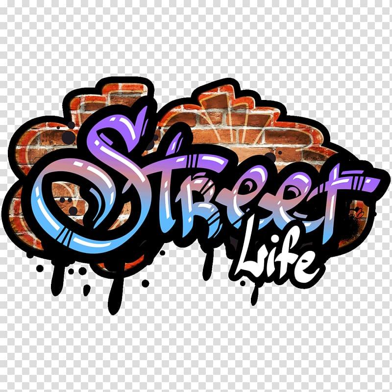 Purple and multicolored Street Life , Graffiti Street art.