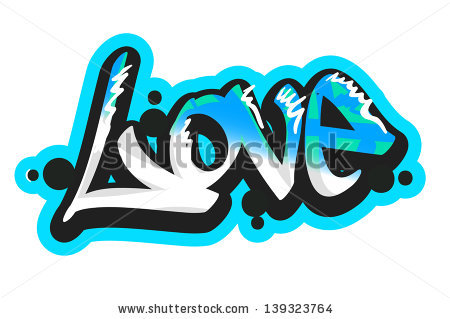 Graffiti vector art urban design element. Love word.