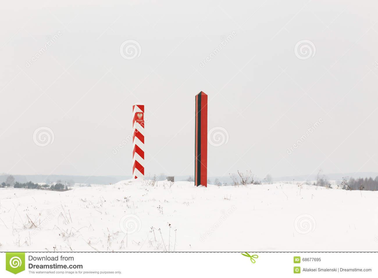 Boundary Pillars Of Belarus And Poland On The Border Stock Photo.