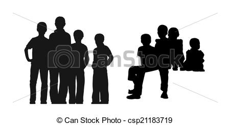 Clipart of homeless boys in the street silhouettes set 1.