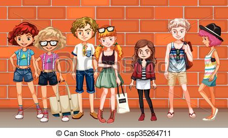 Vector Clip Art of Hipster boys and girls hanging out on the.