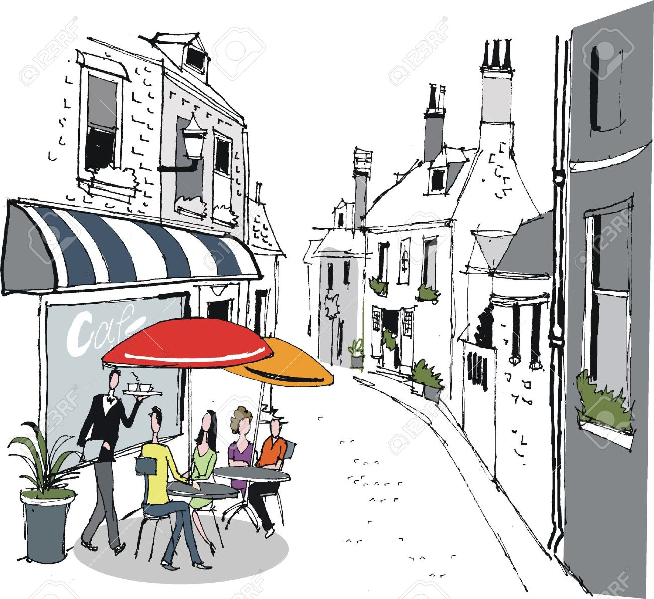 Illustration Of French Cafe Street Scene Royalty Free Cliparts.