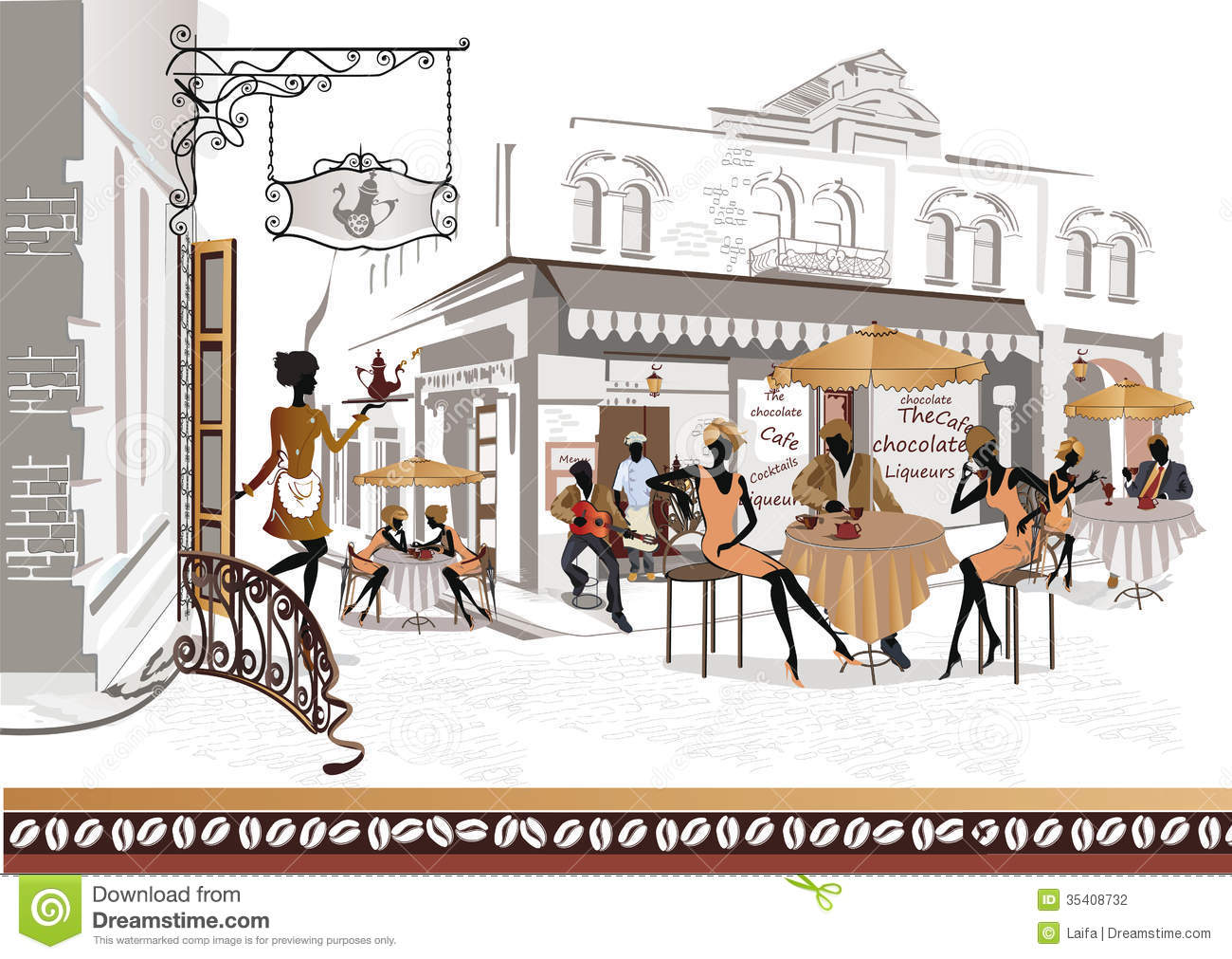 Cafes Stock Illustrations.